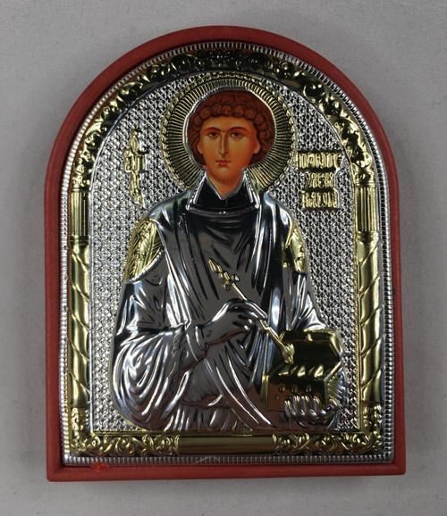 St. Panteleimon, Small Rounded Metallic Icon