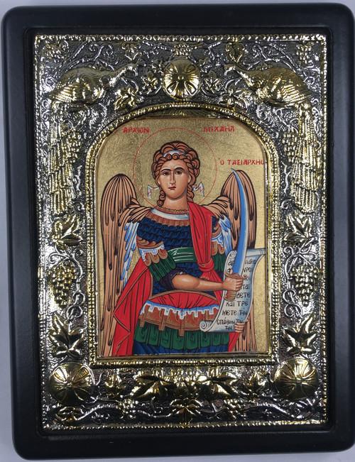 Archangel Michael, Silk-screen Icon, Silver border