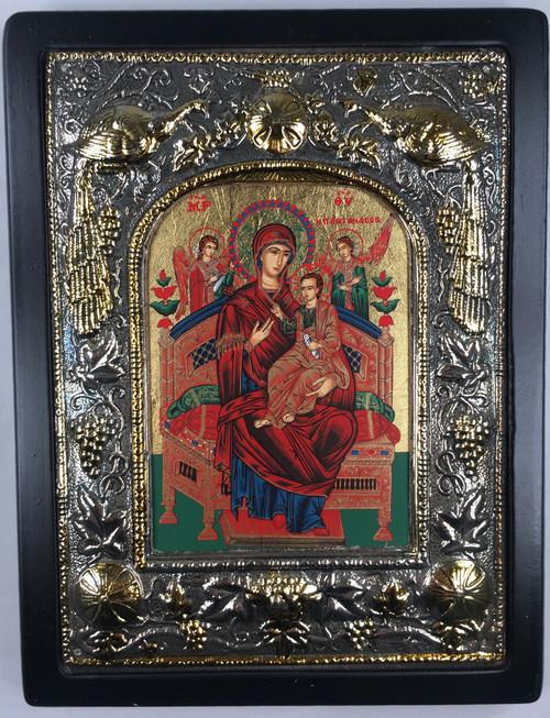 Theotokos - Queen of All, Silk-screen Icon, Silver border