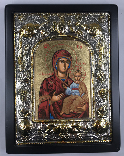 Theotokos - Odigitria, Silk-screen Icon, Silver border