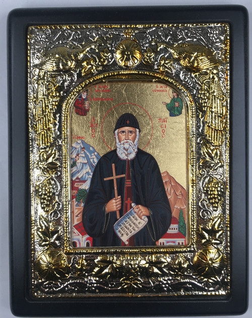St. Paisios of Mt. Athos 1, Silk-screen Icon, Silver border