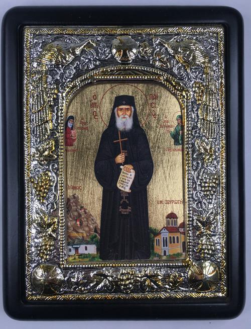 St. Paisios of Mt. Athos 2, Silk-screen Icon, Silver border