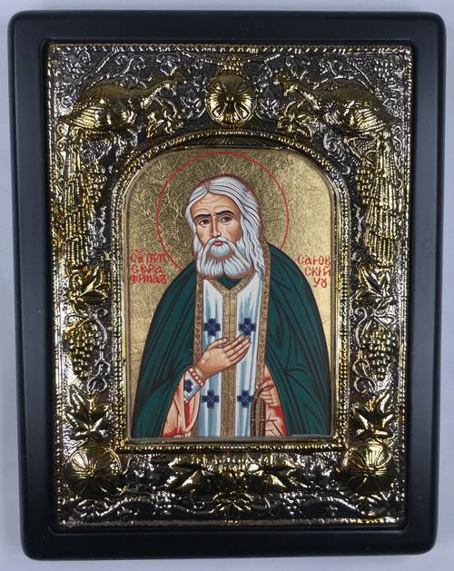 St. Seraphim of Sarov, Silk-screen Icon, Silver border