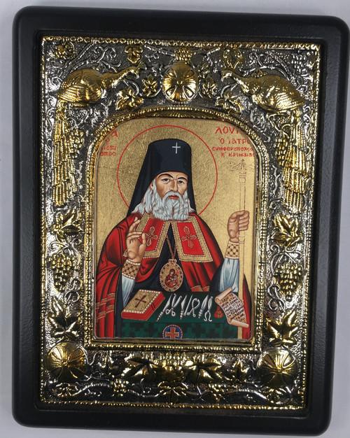 St. Luke the Surgeon, Silk-screen Icon, Silver border