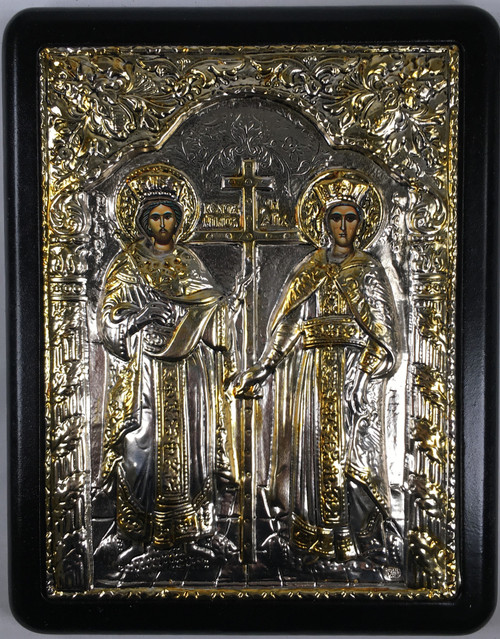 Sts. Constantine and Helen, Silver-plated Icon
