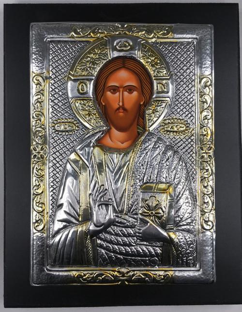 Christ - Pantocrator, 2-tone Metallic Icon