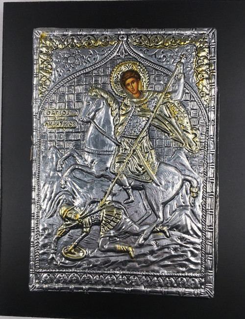 St. Demetrios, 2-tone Metallic Icon