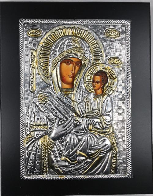 Theotokos - Iveron, 2-tone Metallic Icon