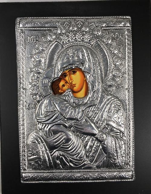 Theotokos - Sweet-kissing, Metallic Icon