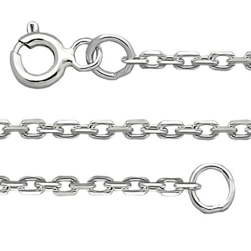 Silver Sterling Chain, Diamond Cut Oval 0.5 mm