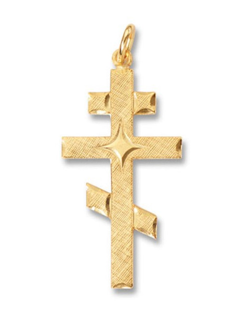 24kt Gold-Plated Sterling Silver Three-Barred Cross