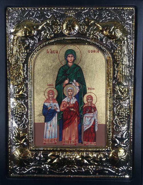 Sts. Sophia, Vera, Nadezhda, Lyubov, Silk-screen Icon, Silver border