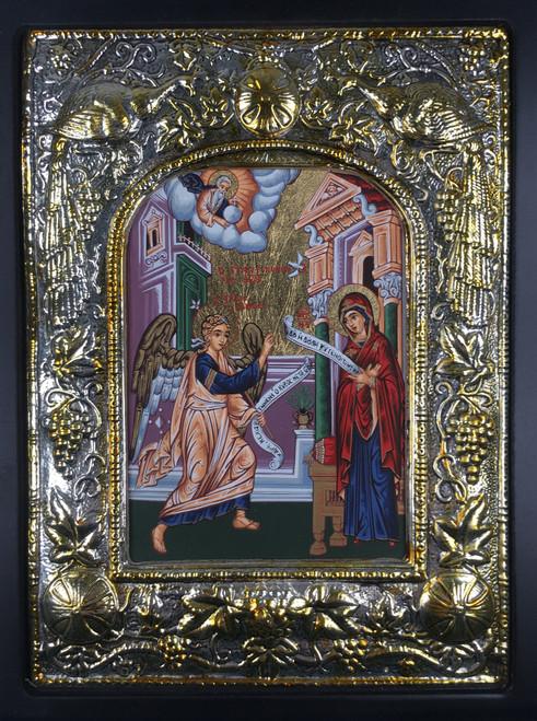 Theotokos - Annunciation, Silk-screen Icon, Silver border