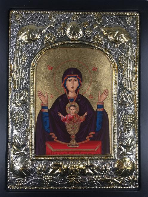 Theotokos - Inexhaustible Cup, Silk-screen Icon, Silver border