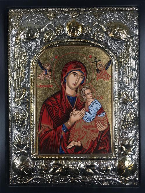 Theotokos - of the Passion, Silk-screen Icon, Silver border