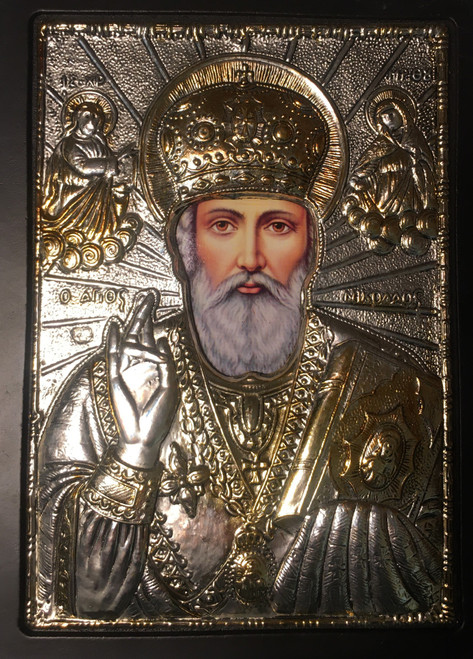 St. Nicholas, Silver-plated Icon