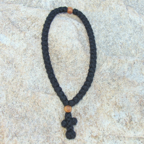 SP 50-Knot Greek Prayer Rope with Olive Wood Beads