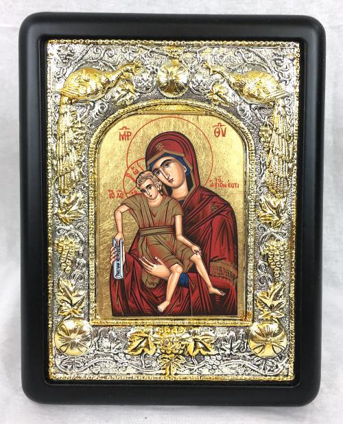 Theotokos - It Is Truly Meet, Silk-screen Icon, Silver border