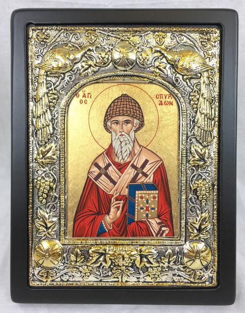 St Spyridon, Silk-screen Icon, Silver border
