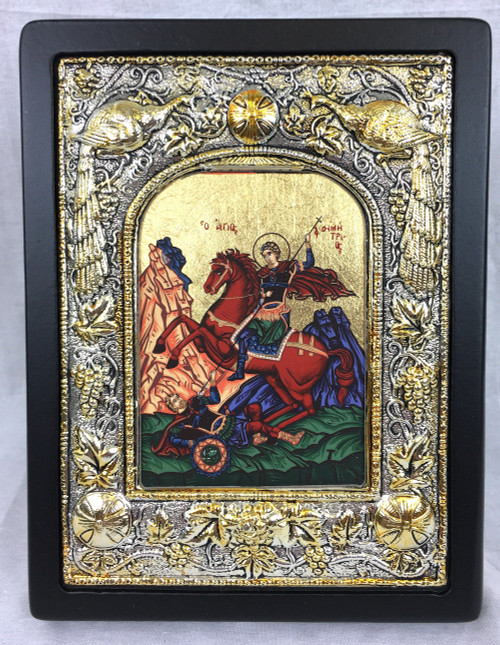 St Demetrios, Silk-screen Icon, Silver border