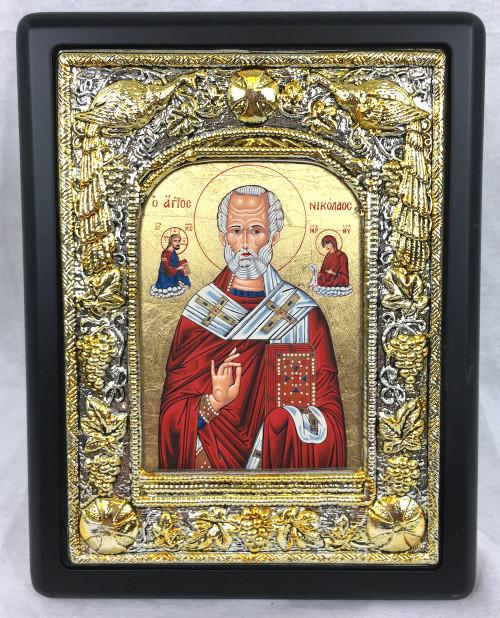 St Nicholas, Silk-screen Icon, Silver border