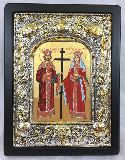 St Constantine and St Helen, Silk-screen Icon, Silver border 1