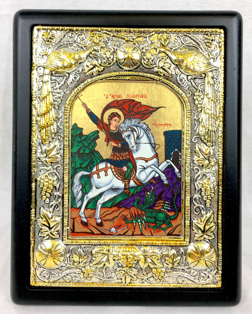 St George, Silk-screen Icon, Silver border