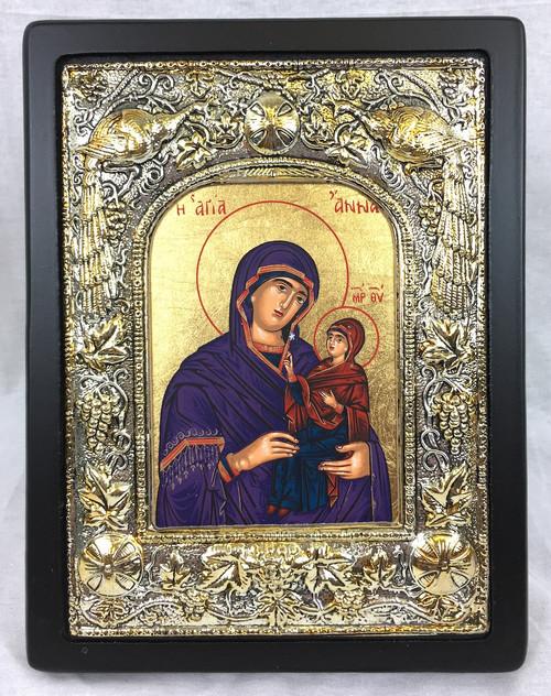 St Anna, Silk-screen Icon, Silver border