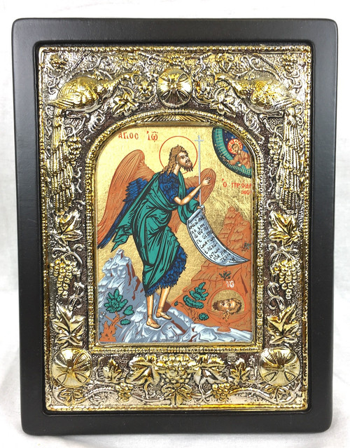 St John the Baptist, Silk-screen Icon, Silver border
