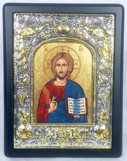 Christ - Pantocrator, Silk-screen Icon, Silver border