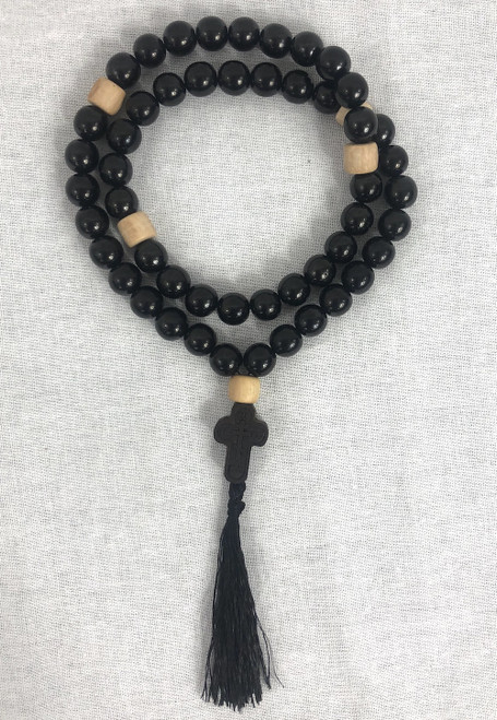 50 - knot Black Stone Prayer Rope