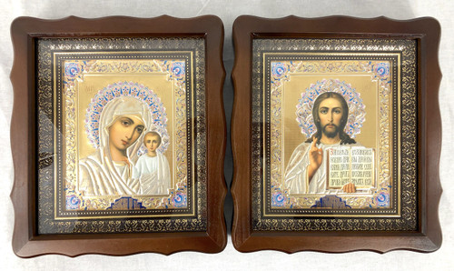 Icons in a Wooden Frame Large