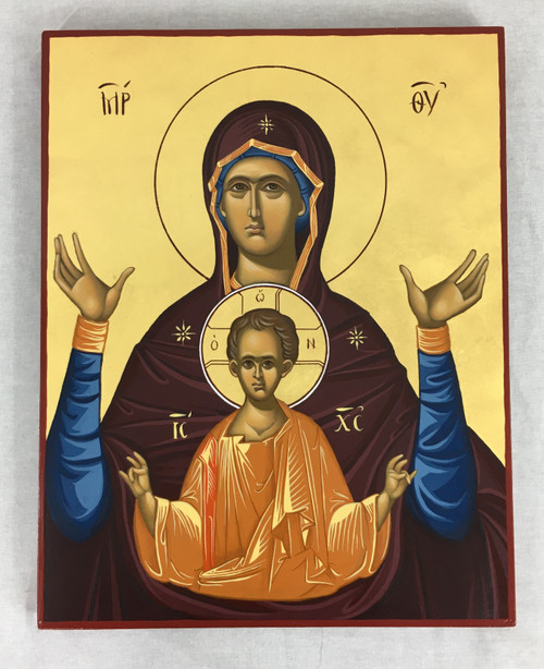 """Hand-painted Icon of the Theotokos 11 x 14"""""""