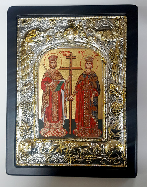 St Constantine and St Helen, Silk-screen Icon, Silver border 2