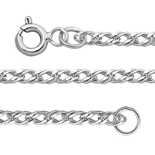 Silver Sterling Chain, Double Rhomb 0.4 mm