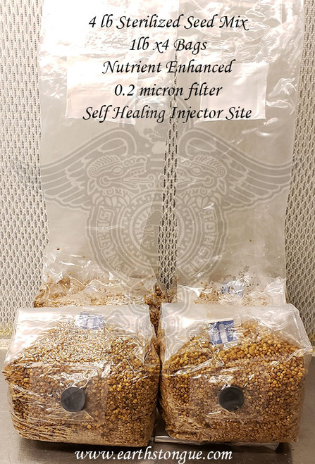 4 Sterilized Nutrient Enhanced Seed Mix Bag 0.2 micron filter & Self Healing Injector Site