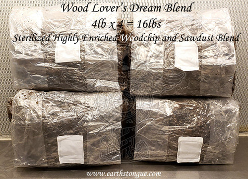 Woodlover's Dream Blend - 4 Sterilized Highly Enriched Woodchip and Sawdust Blend Bags