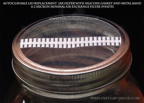 Autoclavable Plastic  Mushroom Spawn Jar WHITE Filter Strip Lid & Gasket MINIMAL-AIR-EXCHANGE
