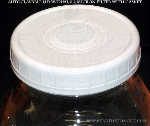 Earth's Tongue ™️ Leakproof Autoclavable Plastic Dual 0.2 micron Filter Lid with Gasket WIDEMOUTH