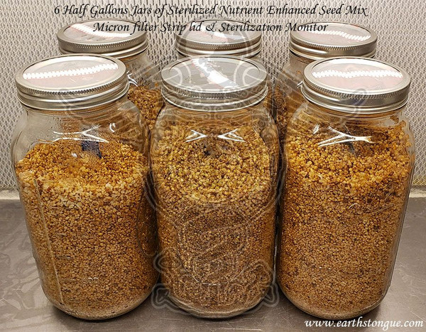 6 Sterilized Nutrient Enhanced Seed Mix Half Gallon Jars with Strip Micron Filter