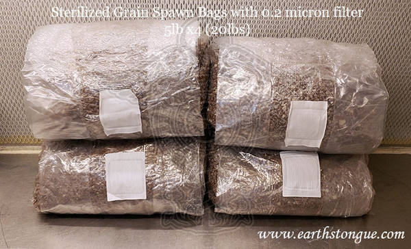 Earth's Tongue ™️ Sterilized Grain Spawn Bags 5lb x 4 with 0.2 micron filter 20 lbs