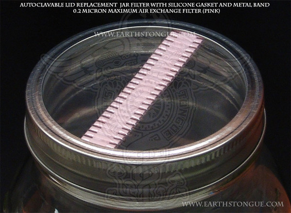 Autoclavable Plastic Mushroom Spawn Jar PINK Filter Strip Lid & Gasket MAXIMUM-AIR-EXCHANGE