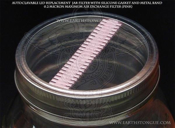 Earth's Tongue ™️ Autoclavable Plastic Mushroom Spawn Jar PINK Filter Strip Lid & Gasket MAXIMUM-AIR-EXCHANGE