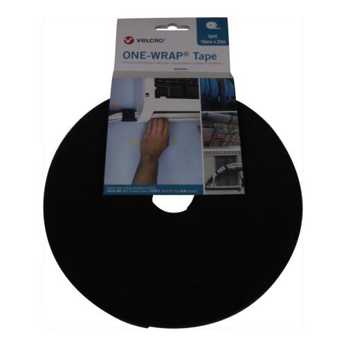 Velcro® VEL-OW64102 FR Black 10mm Wide Velcro® Brand, ONE-WRAP® Tape (25m Roll)