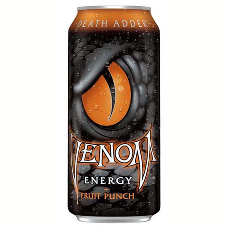 Venom Death Adder Fruit Punch Energy Drink 16 oz Cans
