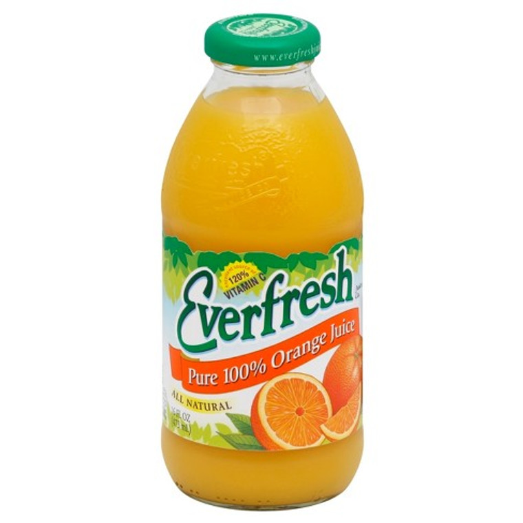 Everfresh Pure 100% Orange Juice - 16 Oz Bottle
