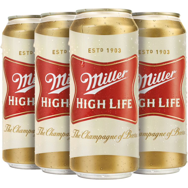 Miller High Life Beer American Lager 16 Oz / 6 Pack Can