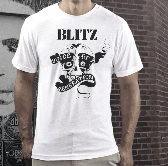 Blitz band  short sleeve  t shirt on white  tee the blitz