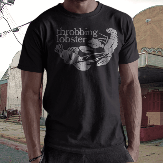 throbbing lobster   records label t  shirt