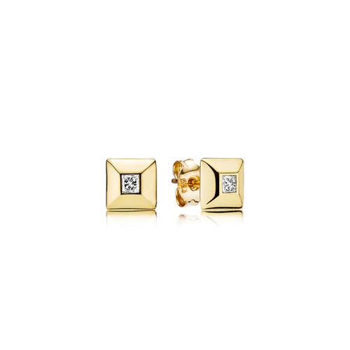 Utzon Jewellery Copenhagen – Smykker – pyramide øreringe i 18 karat guld med brillanter.